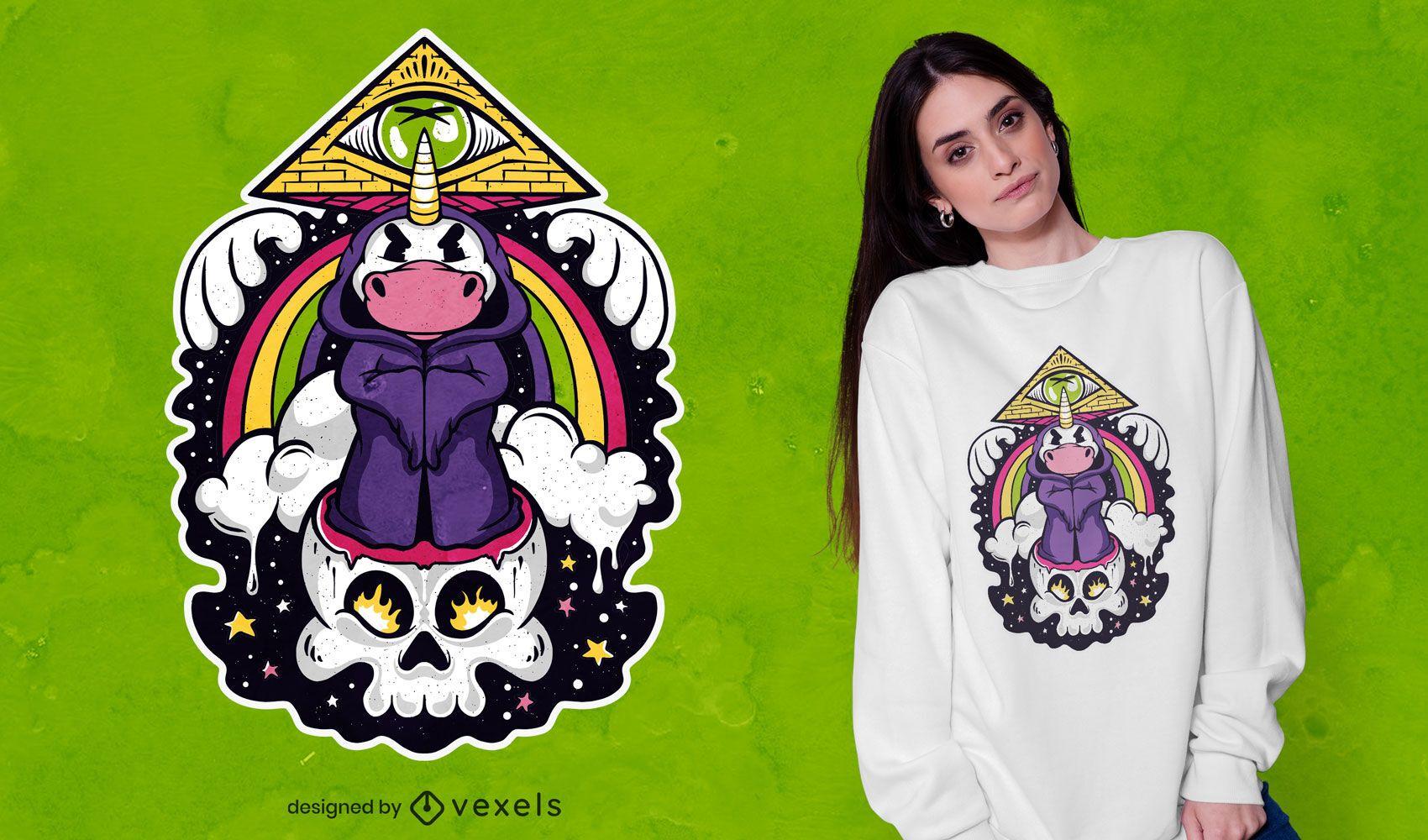 Diseño de camiseta de dibujos animados unicornio illuminati