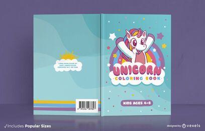 Diseño de portada de libro para colorear de niños unicornio