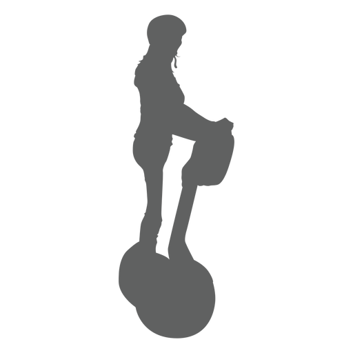 Girl in segway with helmet silhouette