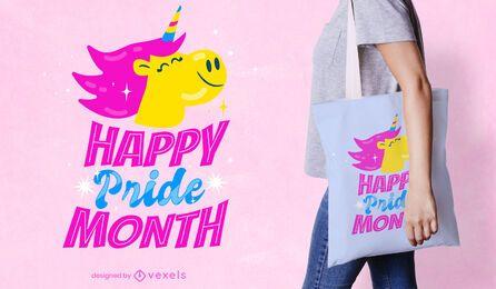 Feliz mes del orgullo unicornio bolsa de tela