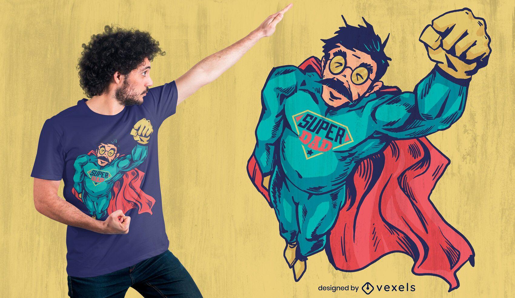 Diseño de camiseta de personaje de papá superhéroe