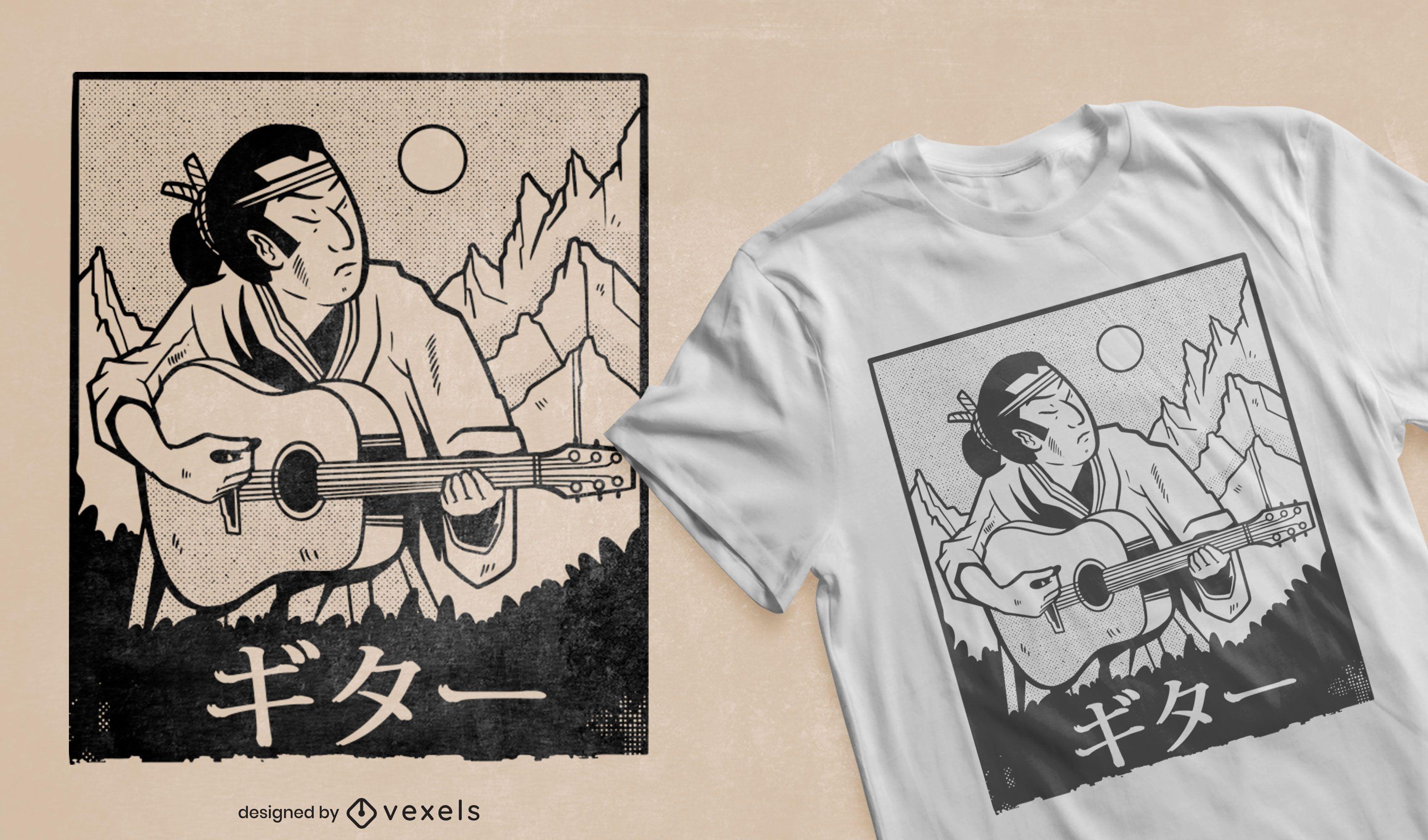 Samurai tocando violão com design de camiseta
