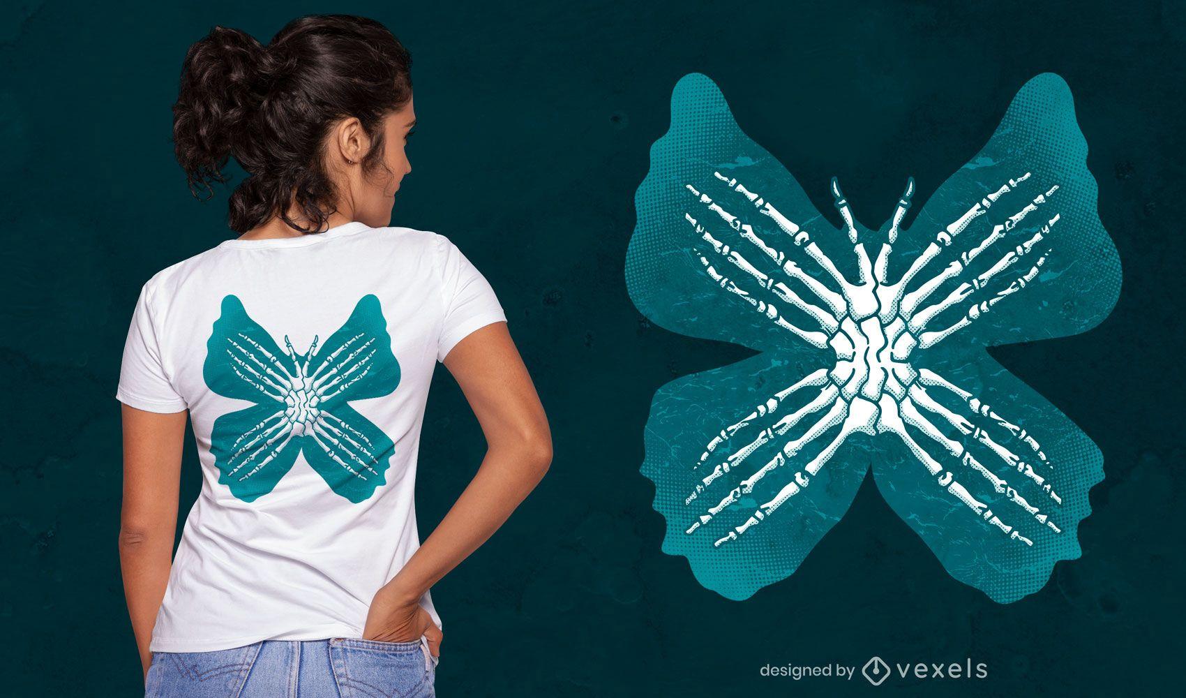 Diseño de camiseta de esqueleto de mariposa espeluznante