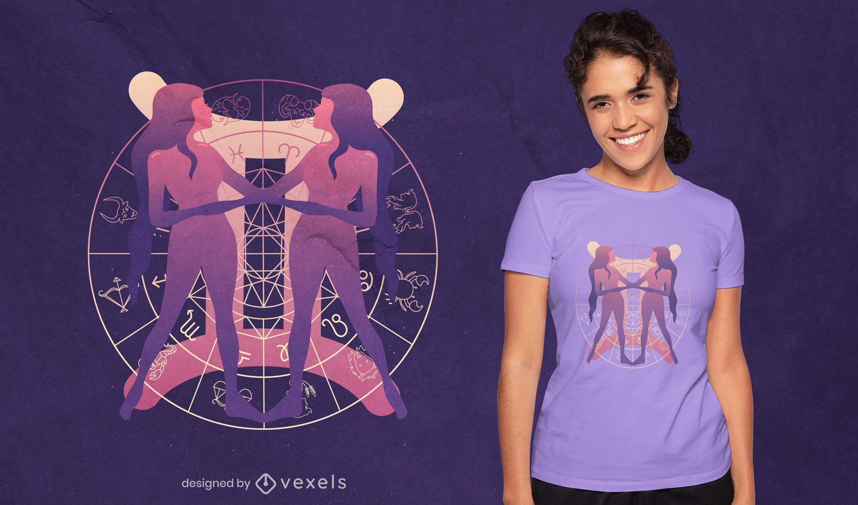 Diseño de camiseta con degradado del símbolo del zodiaco Géminis