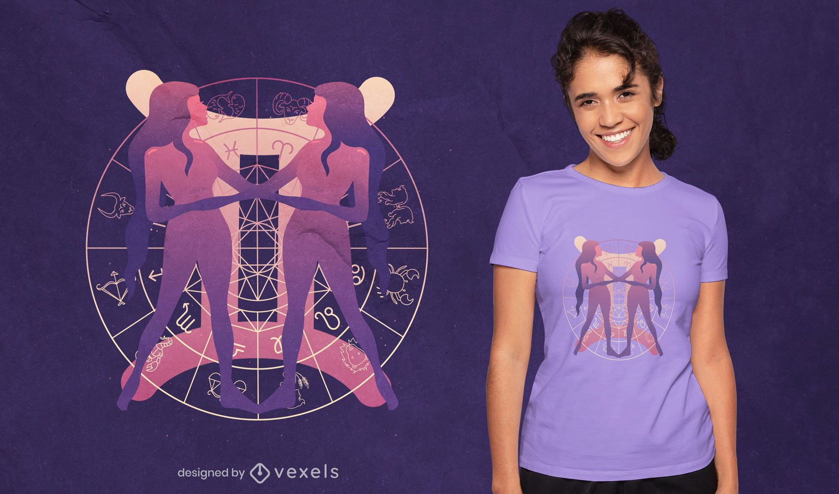 Zodiac Gemini symbol gradient t-shirt design