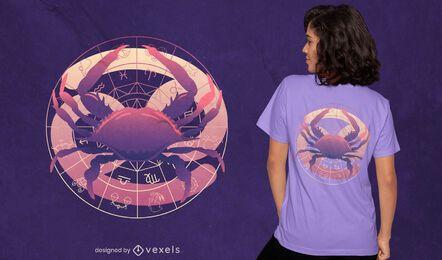 Diseño de camiseta con degradado de símbolo de cáncer del zodiaco