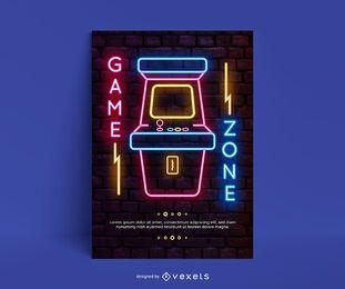 Consola de videojuegos cartel de arcade de neón.