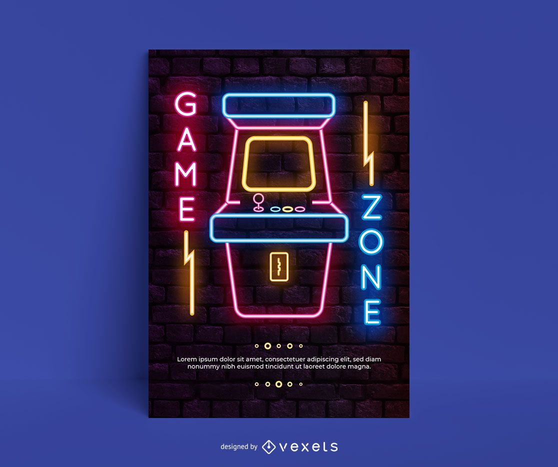 Videogame console neon arcade poster