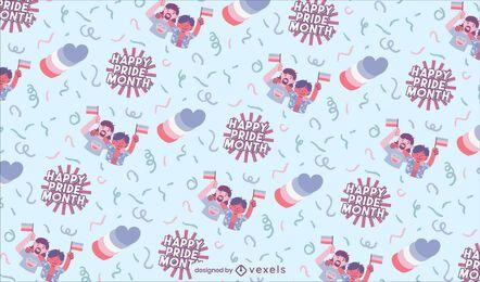 Diseño de patrón lgbt feliz mes del orgullo