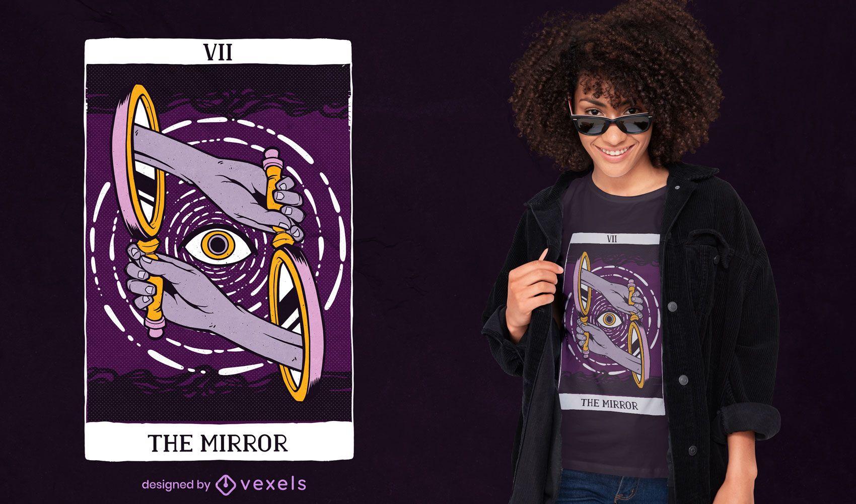 El diseño de la camiseta de la carta del tarot del espejo.