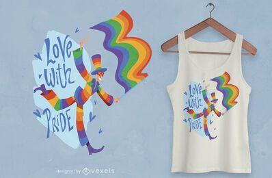 Diseño de camiseta de bandera de hombre feliz del mes del orgullo