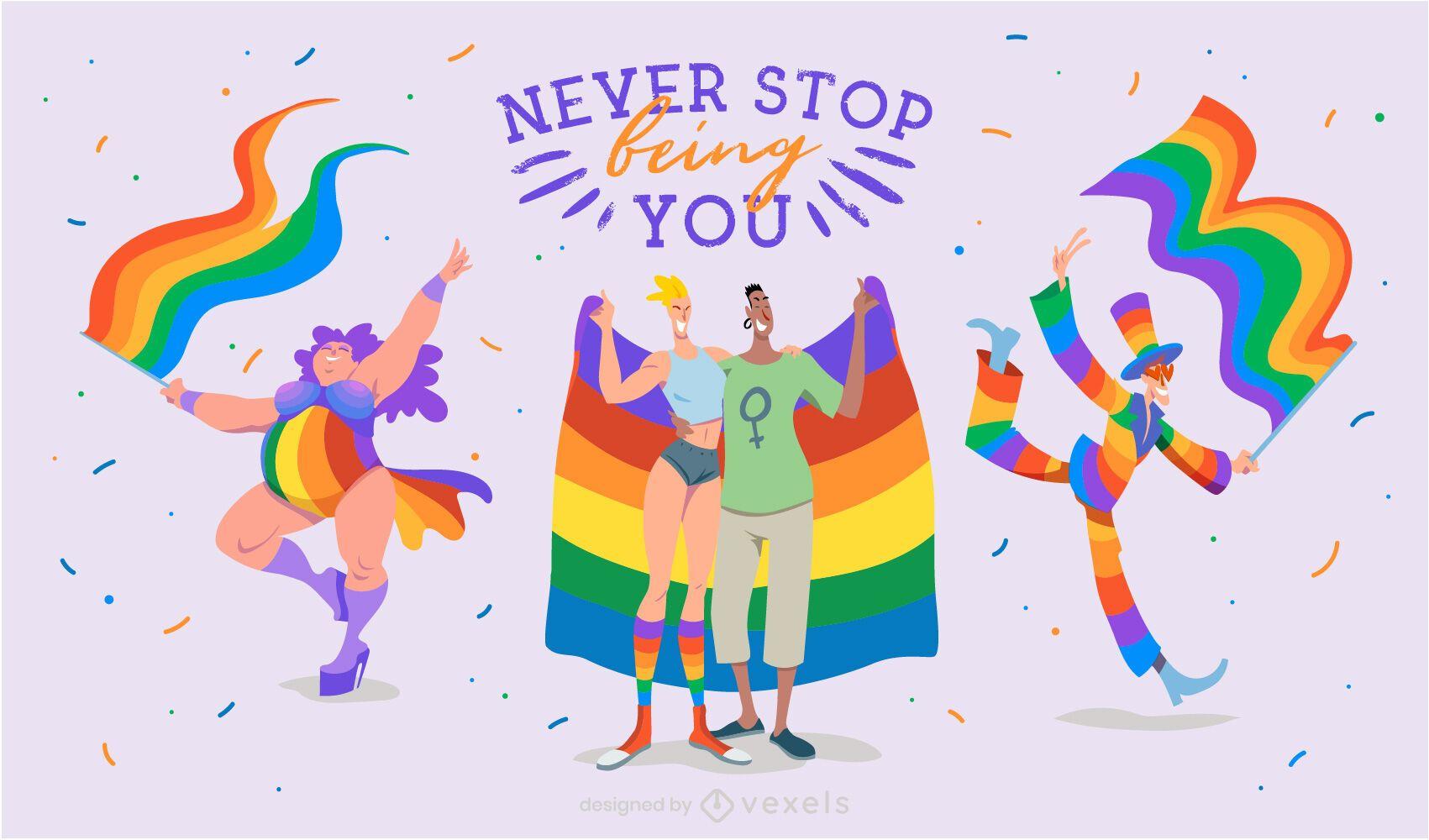Ilustração de citação lgbt do mês do orgulho