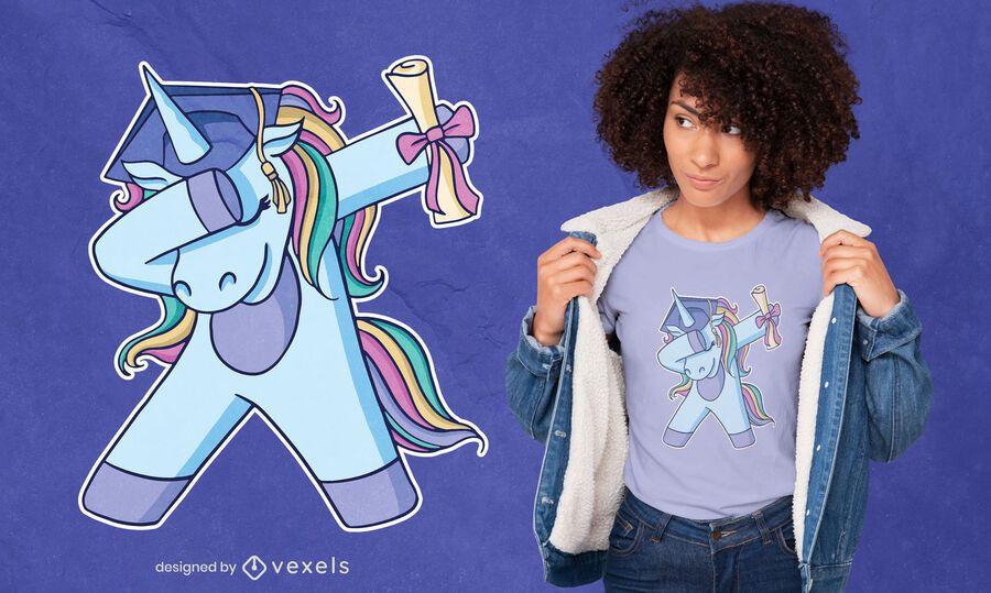 Diseño de camiseta de graduación de unicornio dabbing