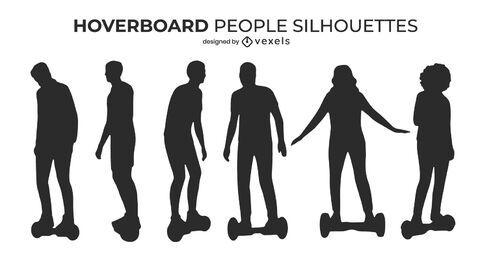Conjunto de silueta de personas en hoverboards