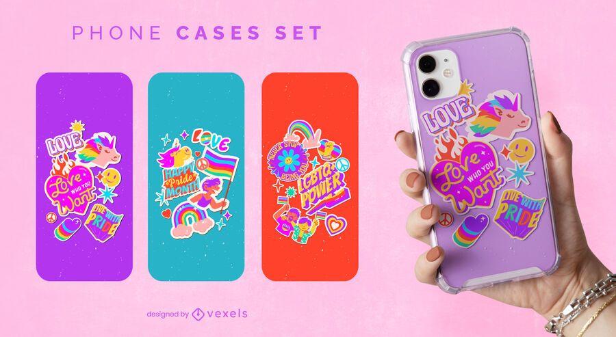 Happy pride month rainbow phone case set
