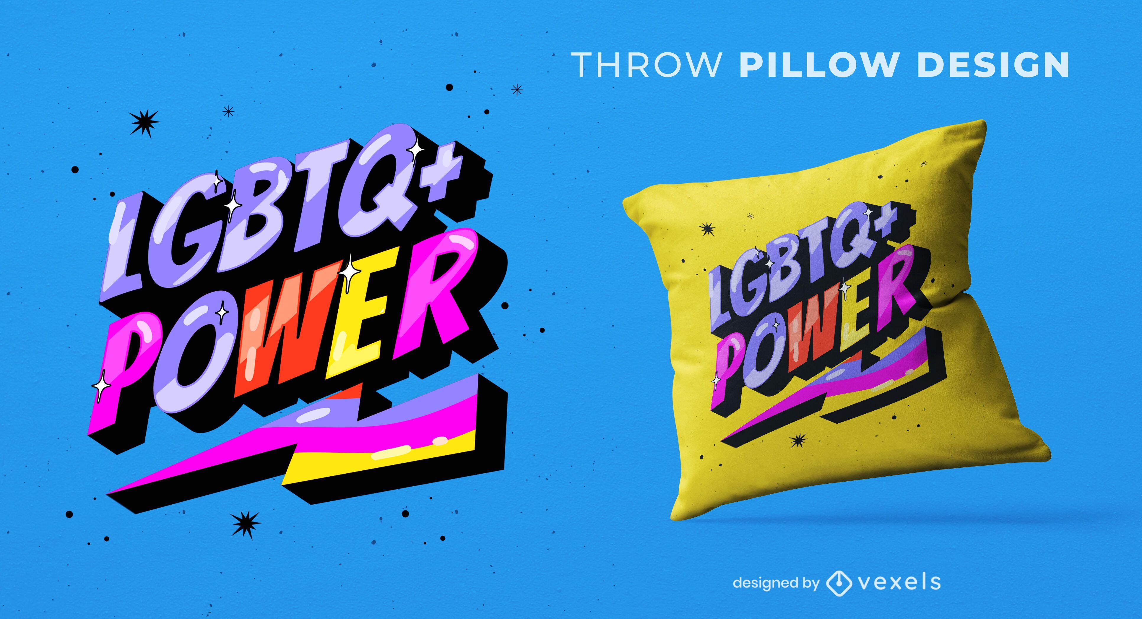 Lgtb power quote throw pillow design