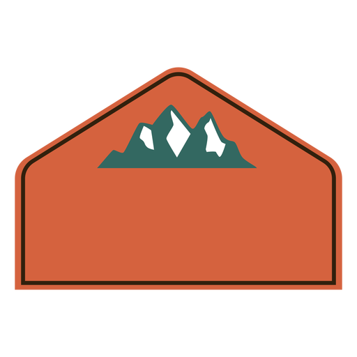 Mountains label semi flat