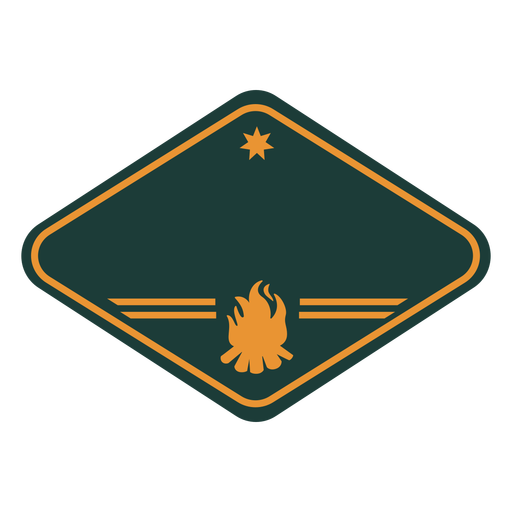 Bonfire silhouette camping label