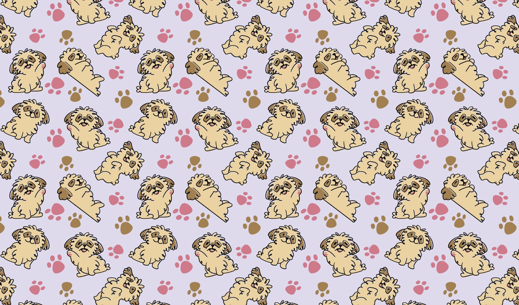 Filhote de cachorro fofo desenho padrão doodle