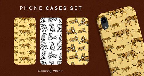 Conjunto de capa de telefone tigre animal selvagem