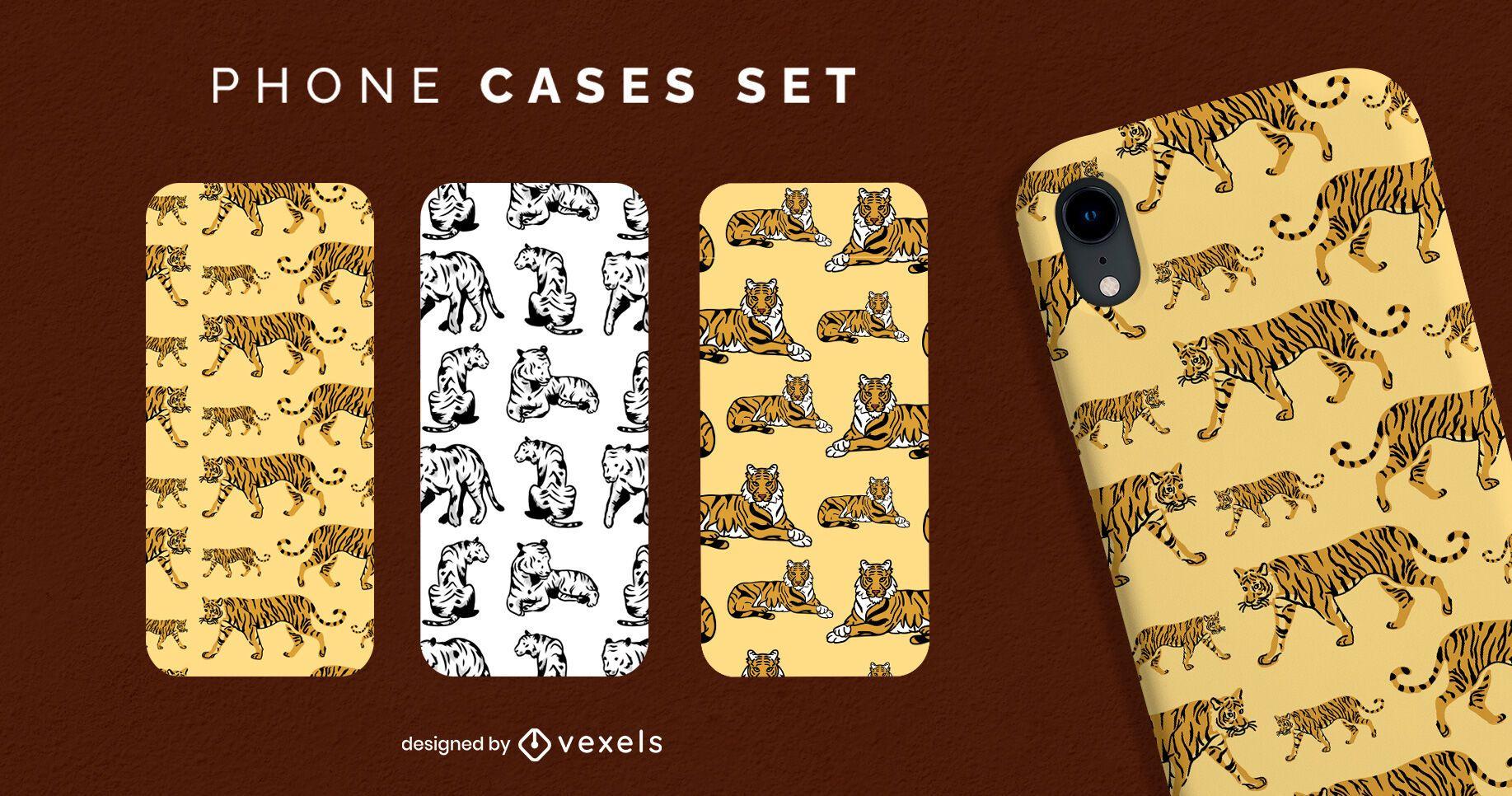 Tiger wild animal phone case set