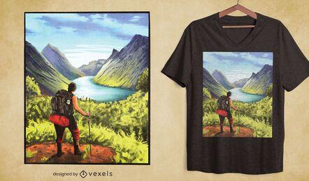 Diseño de camiseta de naturaleza de paisaje de excursionista.