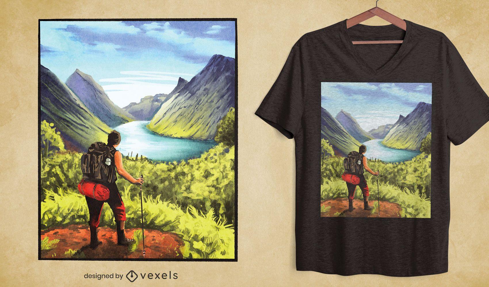 Wanderer Landschaft Natur T-Shirt Design