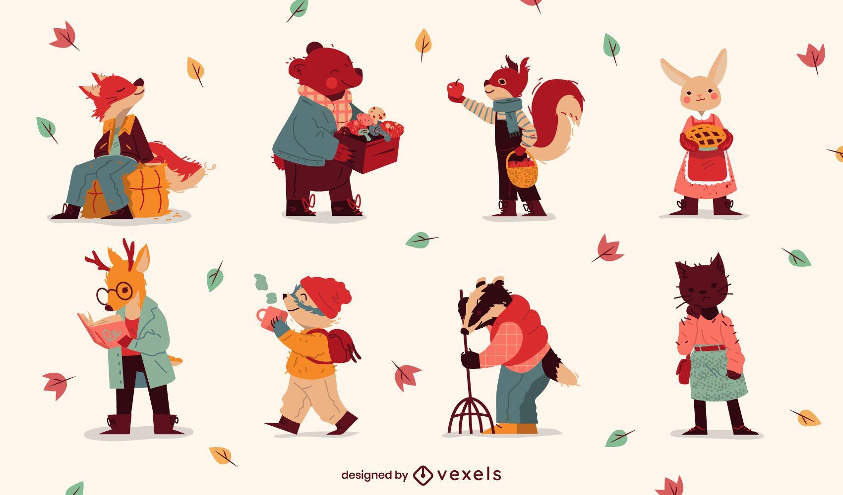 Conjunto de caracteres lindos de la temporada de otoño animal