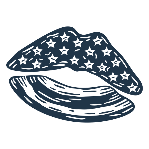 Lips american flag filled stroke badge