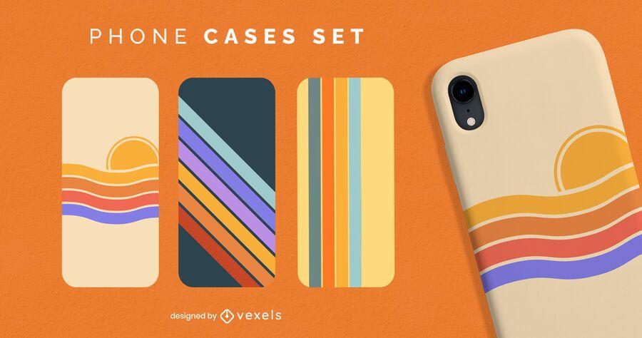 Retro sunset stripes phone case set