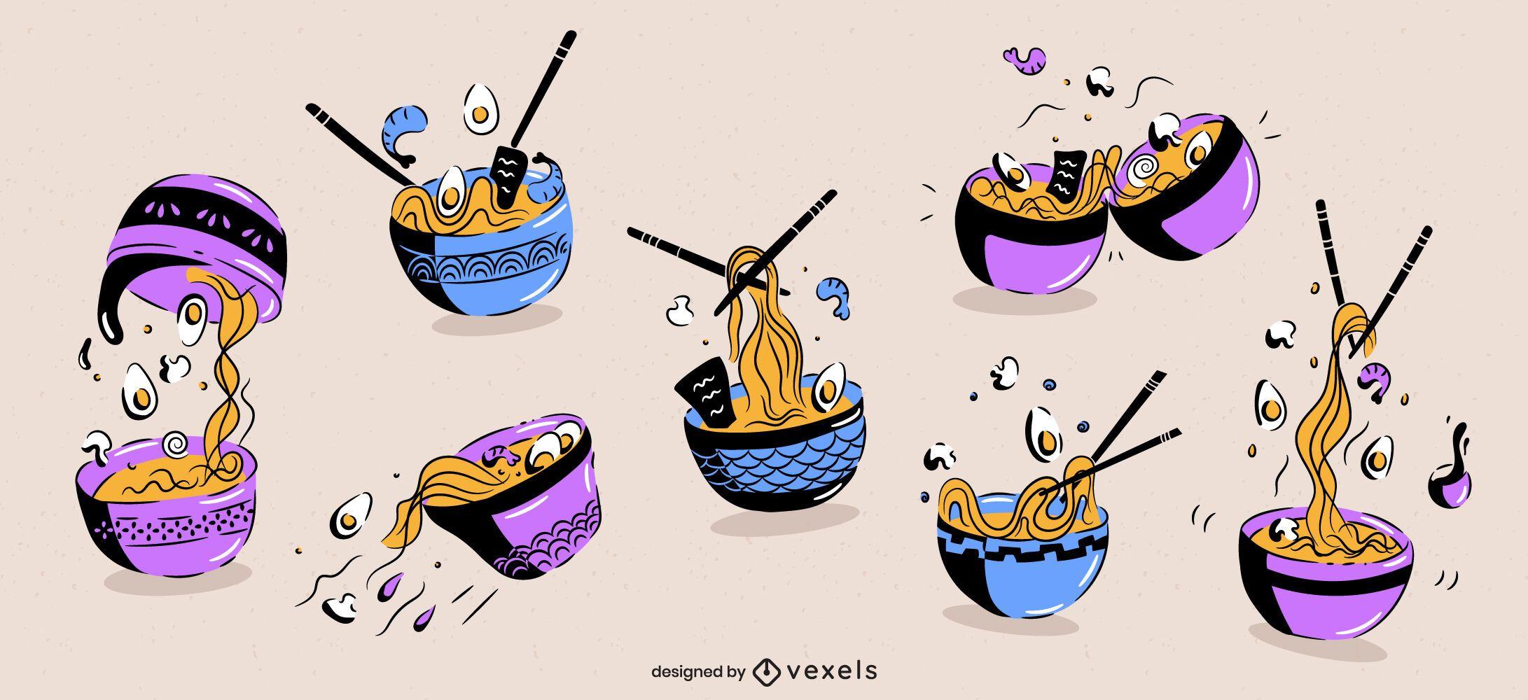Conjunto de doodle de comida japonesa tazón de ramen