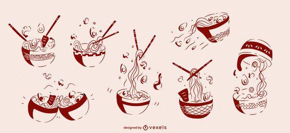 Conjunto de bocetos de comida japonesa de tazón de ramen