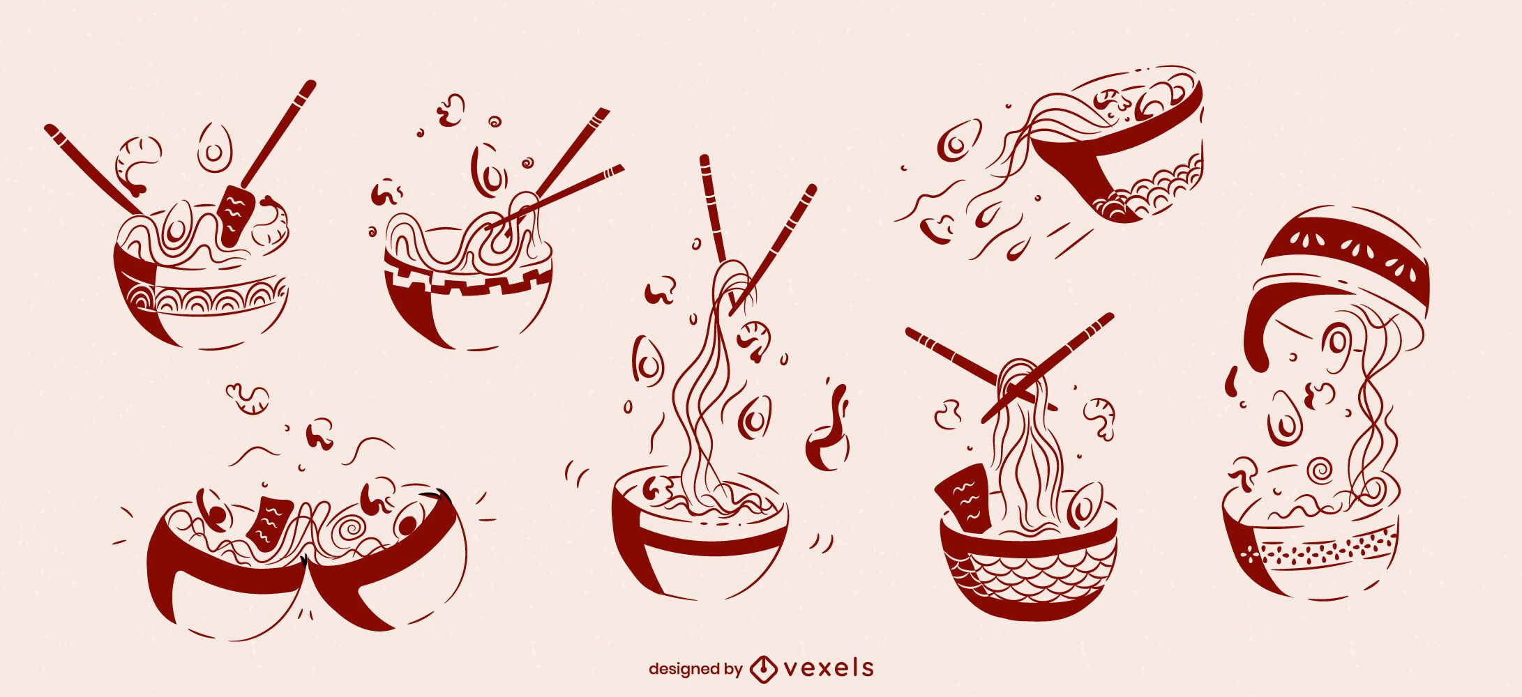 Ramen Schüssel japanisches Essen Skizze gesetzt
