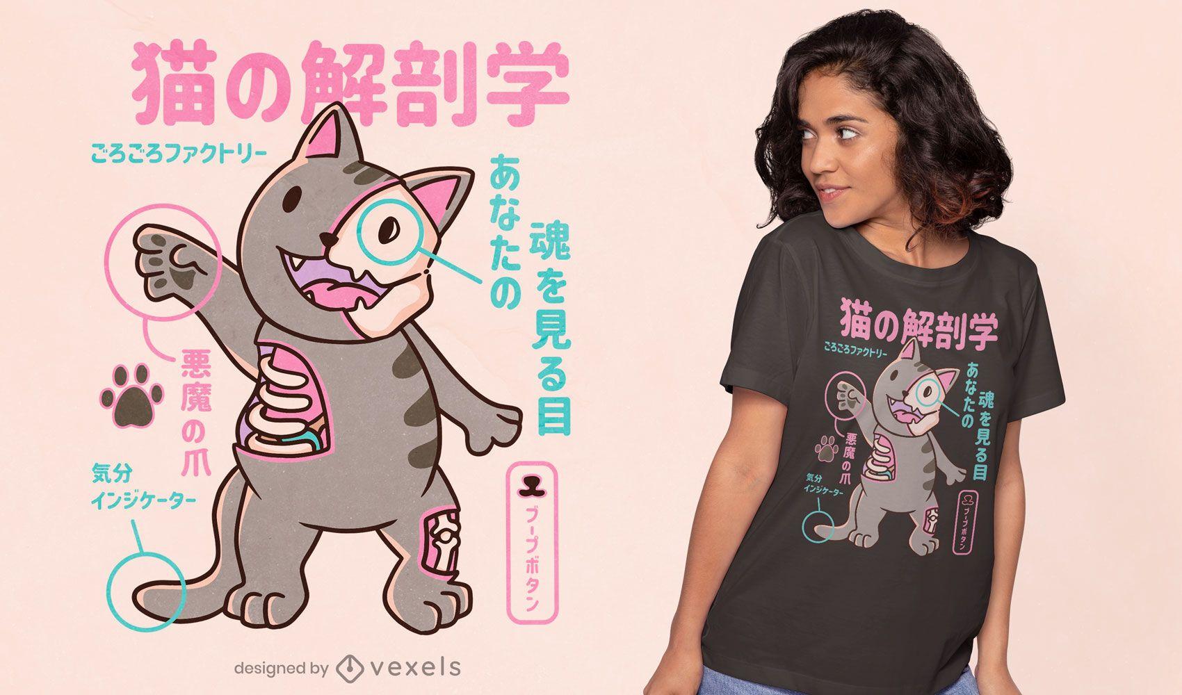 Cat anatomy japanese t-shirt design