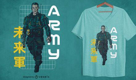 Diseño de camiseta de personaje de sheriff futurista.