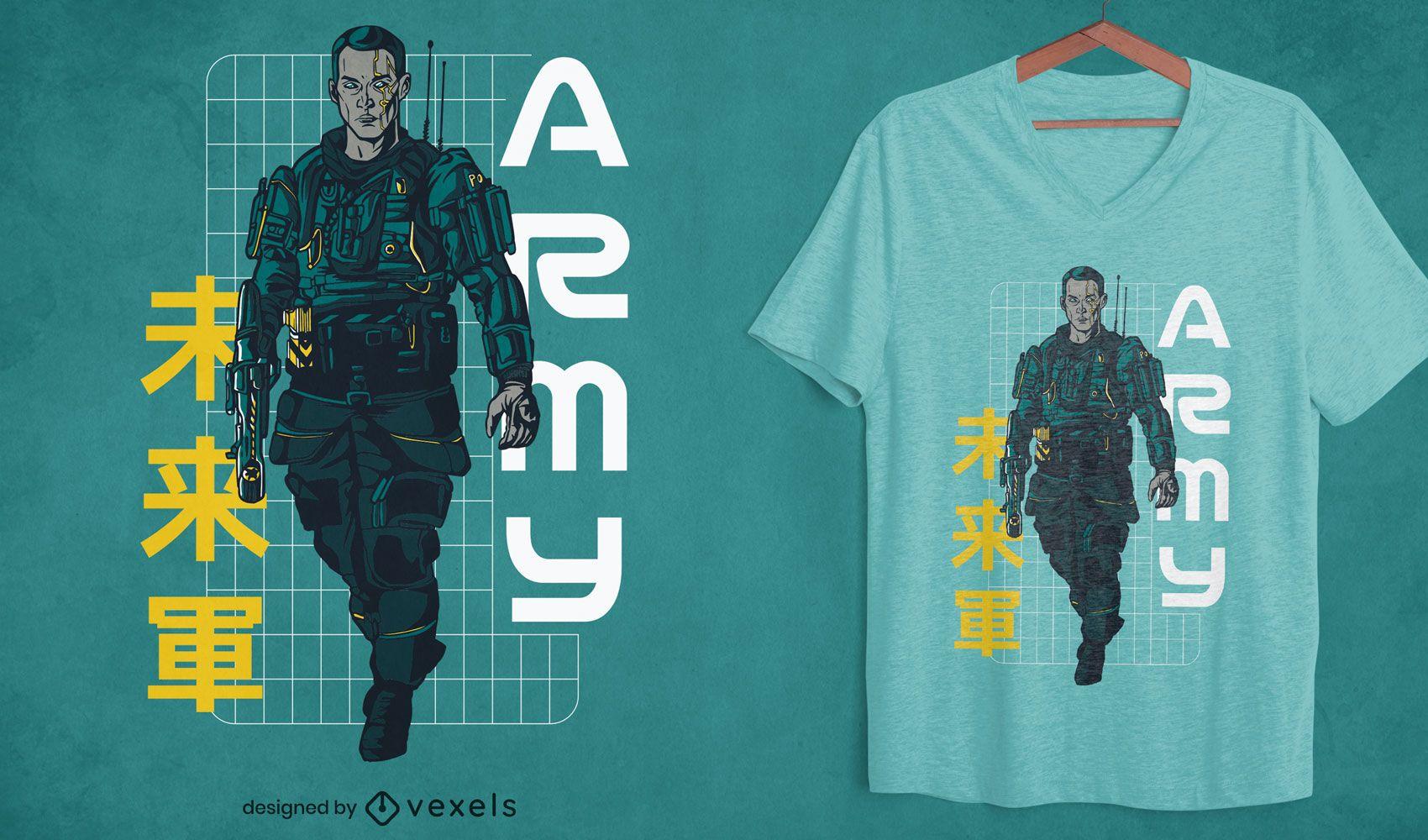 Futuristic sheriff character t-shirt design
