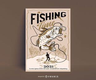 Cartel de ilustración de pasatiempo de pesca