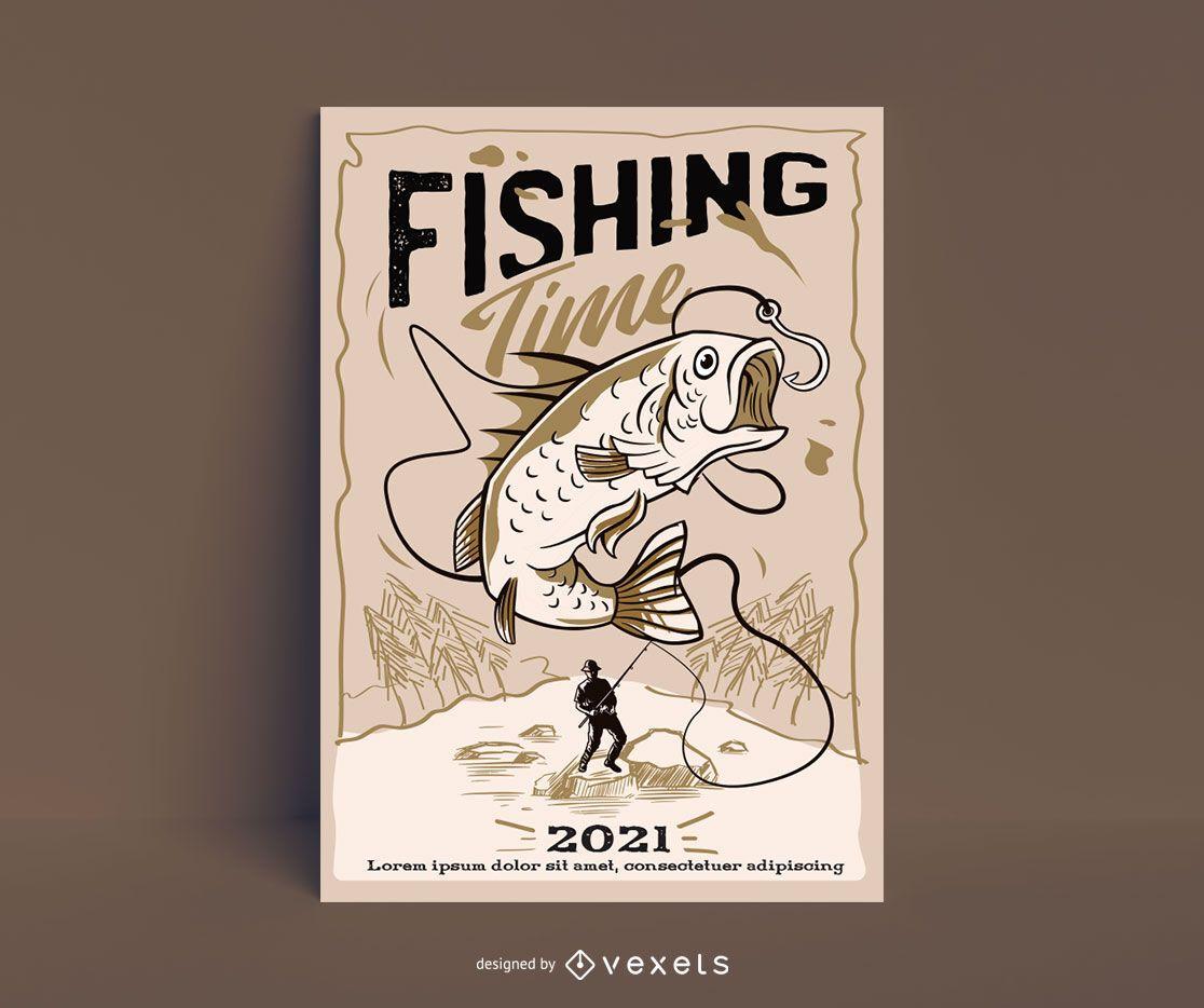 Cartaz de ilustração de passatempo de pesca