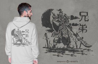 Diseño de camiseta de bosquejo de guerrero chino