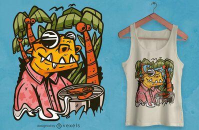 Diseño de camiseta de barbacoa de dinosaurio t-rex.