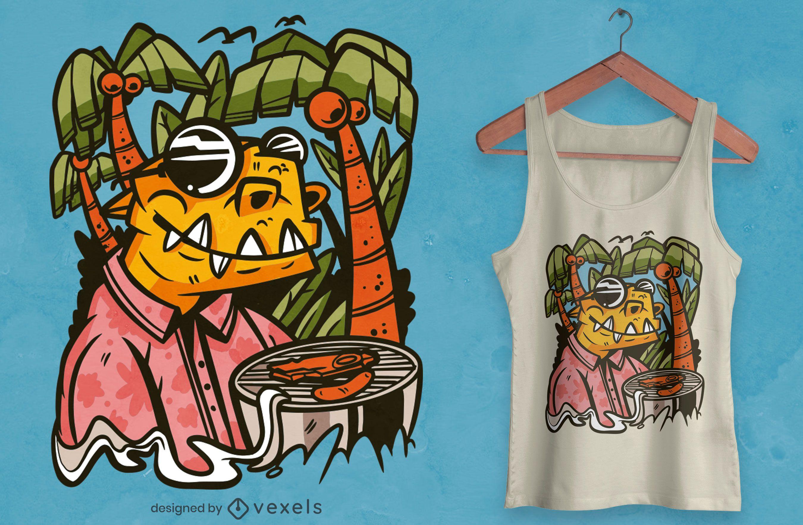 Design de camiseta de churrasco com dinossauro T-rex