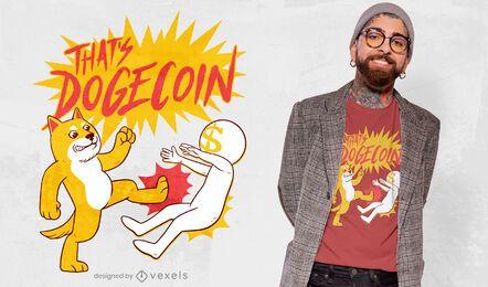 Design de camiseta com citações de luta Dogecoin