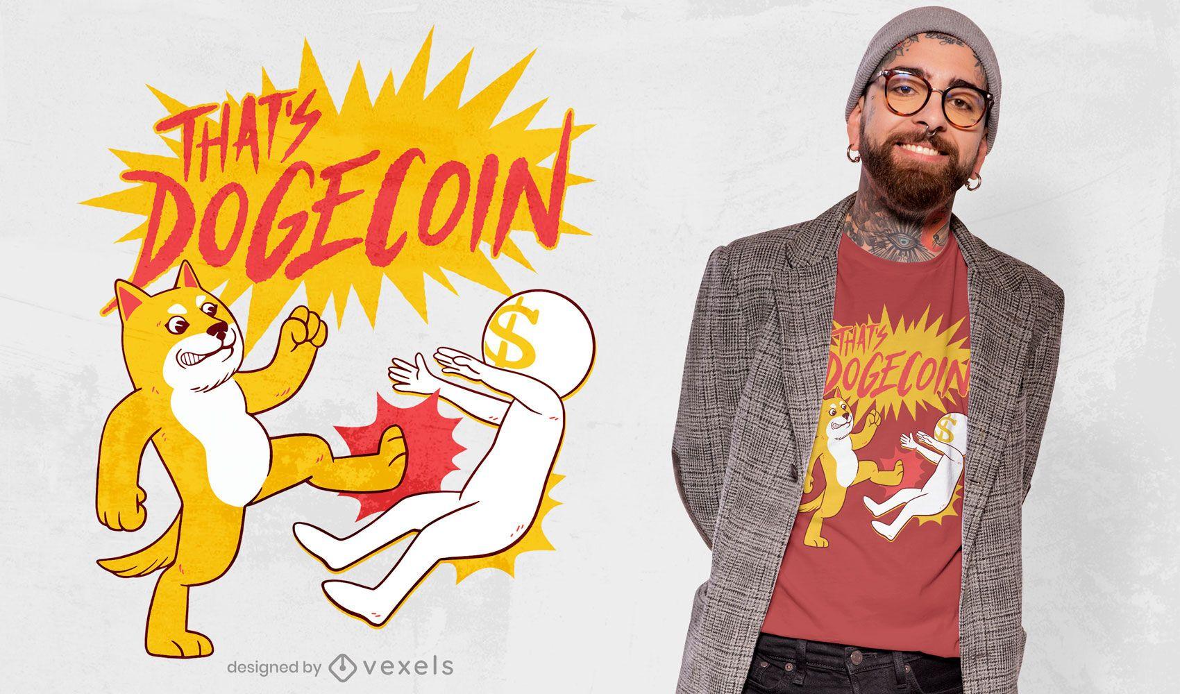 Diseño de camiseta de cita de lucha de Dogecoin