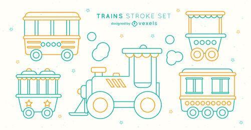 Juego de trazos de vagones de tren de juguete para niños
