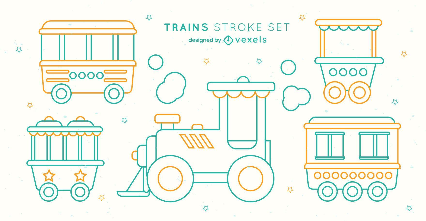 Children toy train cars stroke set