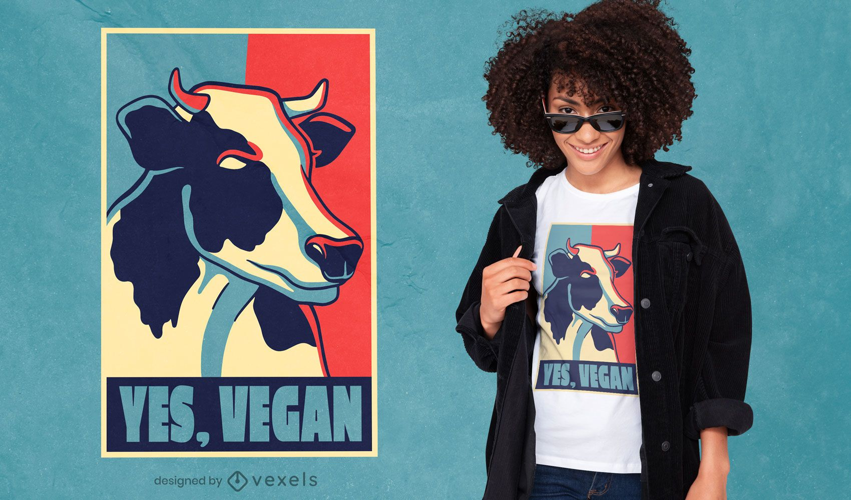 Diseño de camiseta de cita vegana de cartel de vaca