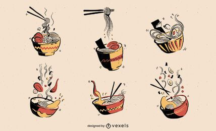 Juego de palillos de comida japonesa ramen bowl