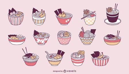 Lindo juego de comida japonesa de tazones de ramen