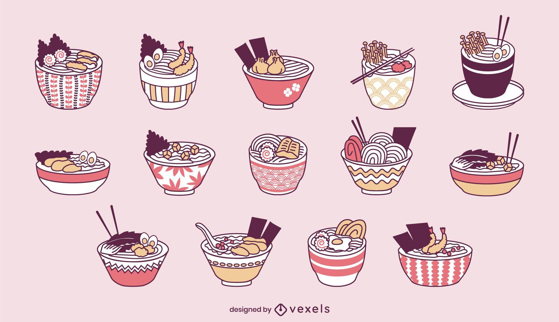 Conjunto fofo de taças de ramen de comida japonesa