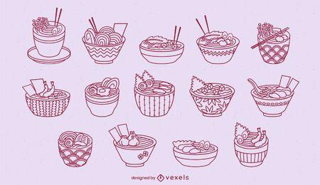 Lindo ramen bowls set de arte de línea de comida japonesa